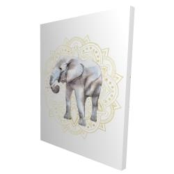 Canvas 36 x 48 - 3D - Elephant on mandalas pattern