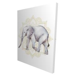 Canvas 36 x 48 - 3D - Elephant on mandalas