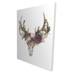 Canvas 36 x 48 - 3D - Deer skull with flowers
