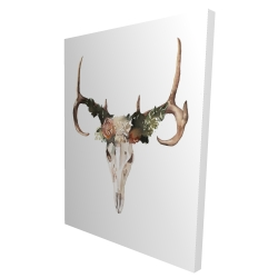 Canvas 36 x 48 - 3D - Deer skull with roses