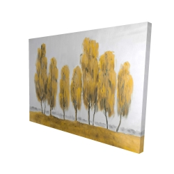 Canvas 36 x 48 - 3D - Seven abstract yellow trees