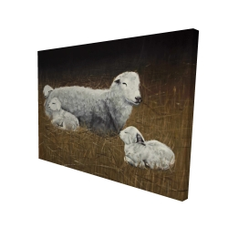 Canvas 36 x 48 - 3D - Sheep and lambs