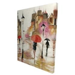 Canvas 36 x 48 - 3D - Passersby under their umbrellas