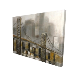 Canvas 36 x 48 - 3D - Bridge by a cloudy day