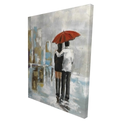 Canvas 36 x 48 - 3D - Couple walking under their umbrella