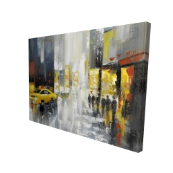 Canvas 36 x 48 - 3D - Rainy busy street