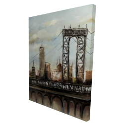 Canvas 36 x 48 - 3D - City bridge by a cloudy day