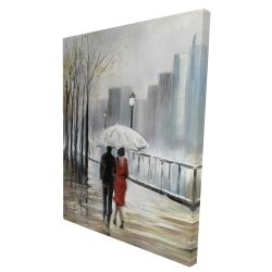 Canvas 36 x 48 - 3D - Couple walking under the rain