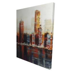 Canvas 36 x 48 - 3D - Abstract red cityscape