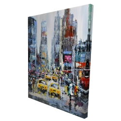 Canvas 36 x 48 - 3D - Urban scene with yellow taxis