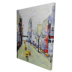 Canvas 36 x 48 - 3D - Gray street with yellow and red accents