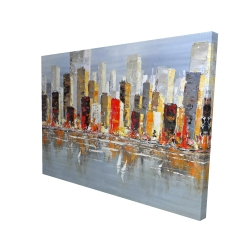 Canvas 36 x 48 - 3D - Colorful buildings with water reflection