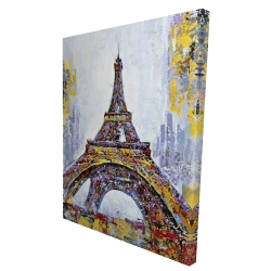 Canvas 36 x 48 - 3D - Abstract paint splash eiffel tower