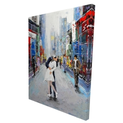 Canvas 36 x 48 - 3D - Kiss of times square