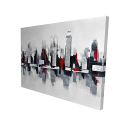 Canvas 36 x 48 - 3D - Gray and red cityscape