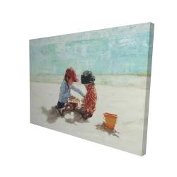 Canvas 36 x 48 - 3D - Little girls at the beach