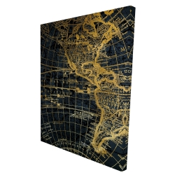 Canvas 36 x 48 - 3D - Blue and marine world map globe