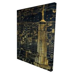 Canvas 36 x 48 - 3D - Gold city blue print