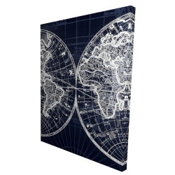 Canvas 36 x 48 - 3D - World map blue print