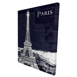 Canvas 36 x 48 - 3D - Paris blue print and eiffel tower