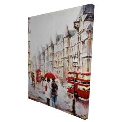 Canvas 36 x 48 - 3D - European street by a rainy day