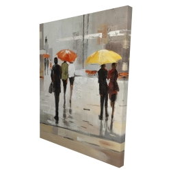 Canvas 36 x 48 - 3D - Abstract passersby with umbrellas
