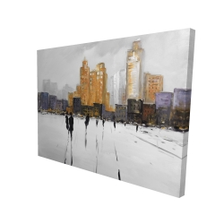 Canvas 36 x 48 - 3D - Silhouettes walking towards the city