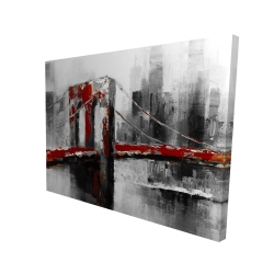 Canvas 36 x 48 - 3D - Abstract and red brooklyn bridge