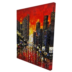 Canvas 36 x 48 - 3D - Abstract sunset on the city