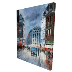 Canvas 36 x 48 - 3D - Abstract red and blue city