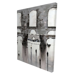Canvas 36 x 48 - 3D - Gray building with passersby