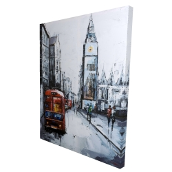 Canvas 36 x 48 - 3D - Abstract london and red bus
