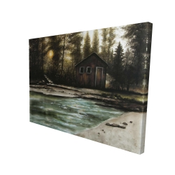 Canvas 36 x 48 - 3D - Cabin in the forest