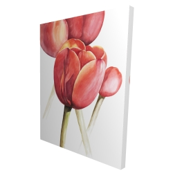 Canvas 36 x 48 - 3D - Blossoming tulips closeup