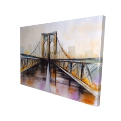 Canvas 36 x 48 - 3D - Colorful brooklyn bridge