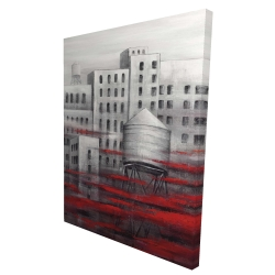 Canvas 36 x 48 - 3D - Gray city with red clouds