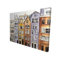 Canvas 36 x 48 - 3D - Amsterdam houses hotel