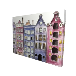 Canvas 36 x 48 - 3D - Old historic houses amsterdam