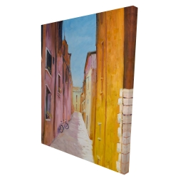 Canvas 36 x 48 - 3D - Colorful houses in the streets of collioure
