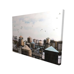 Canvas 36 x 48 - 3D - Water towers with birds