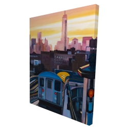 Canvas 36 x 48 - 3D - Sunset over the subway in new-york