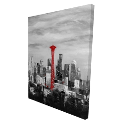 Canvas 36 x 48 - 3D - Space needle in red