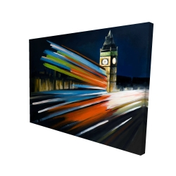 Canvas 36 x 48 - 3D - London bus with long exposure