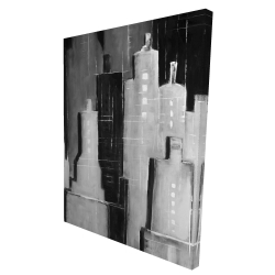 Canvas 36 x 48 - 3D - Abstract black and white cityscape