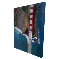 Canvas 36 x 48 - 3D - Overhead view of the golden gate and mountains