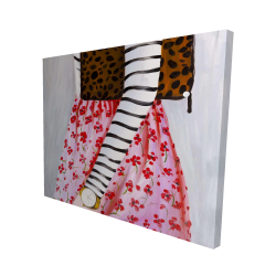 Canvas 48 x 60 - 3D - Fashionable woman with a leopard bag