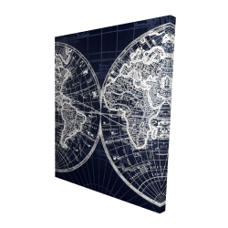 Canvas 48 x 60 - 3D - World map blue print