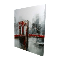 Canvas 48 x 60 - 3D - Abstract and red brooklyn bridge