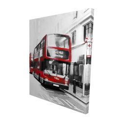 Canvas 48 x 60 - 3D - Red bus in a gray street