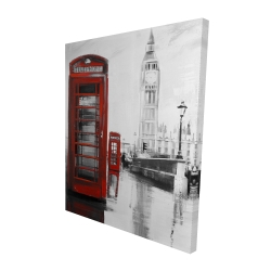 Canvas 48 x 60 - 3D - Red phonebooth with the big ben